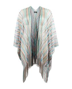 Plus Size Multicoloured Zig Zag Print Fringed Kimono | New Look