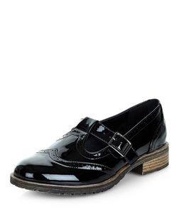 Teens Black Patent Cut Out Brogues | New Look