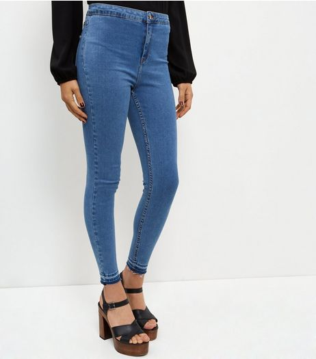 Blue Drop Hem High Waist Super Skinny Jeans  | New Look