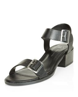 Teens Black Leather-Look Block Heel Sandals  | New Look