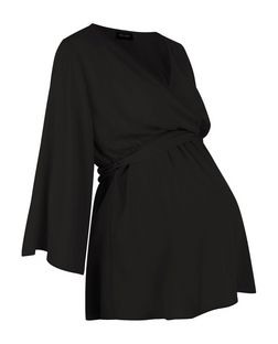 Maternity Black Belted Wrap Top | New Look
