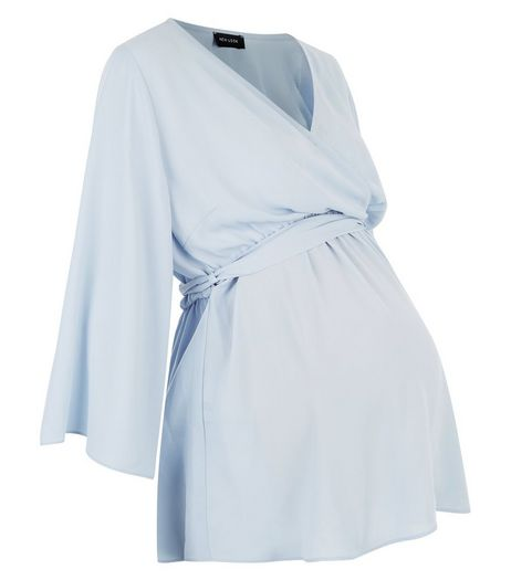Maternity Blue Belted Wrap Top | New Look