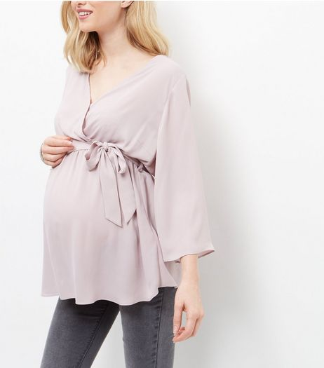 Maternity Mid Pink Belted Wrap Top | New Look