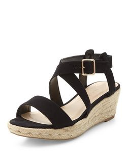Teens Black Cross Strap Espadrille Wedges | New Look
