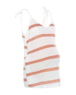 Maternity Pink Stripe Tie Strap Cami | New Look