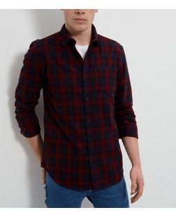 Navy Check Single Pocket Long Sleeve Shirt  | New Look
