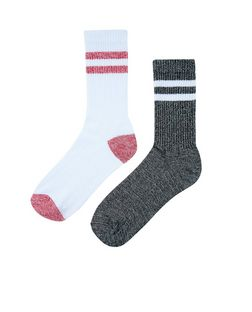 2 Pack White and Black Contrast Stripe Socks  | New Look