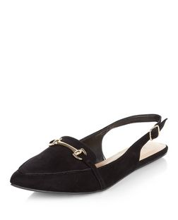 Wide Fit Black Suedette Sling Back Pointed Loafers  | New Look