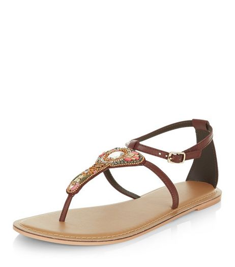 Dark Red Leather Beaded Sandals  | New Look