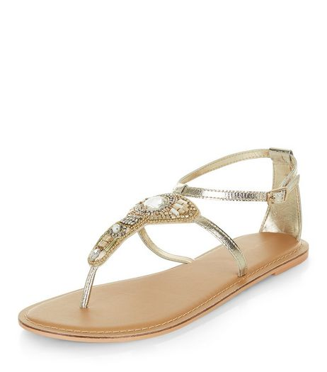 Gold Leather Beaded Sandals  | New Look
