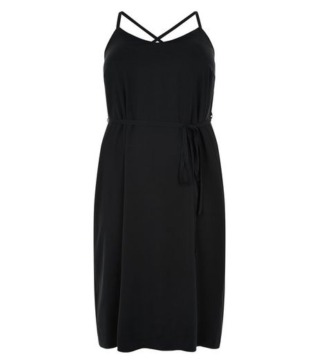 Curves Black Cross Back Strap Slip Dress  | New Look