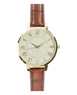 Brown Croc Textured Strap Watch | New Look