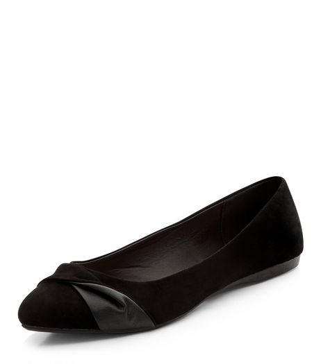 Wide Fit Black Suedette Pointed Pumps | New Look