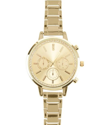 Gold Diamante Mini Dials Sports Watch | New Look