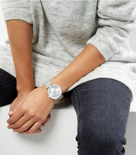 Dark Grey Croc Textured Watch  | New Look