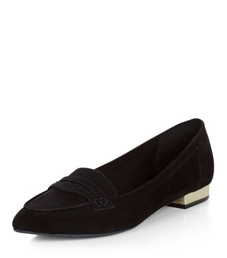 Wide Fit Black Suedette Pointed Loafers  | New Look