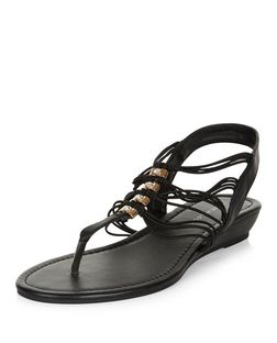 Wide Fit Black Diamante Strappy Wedge Sandals  | New Look