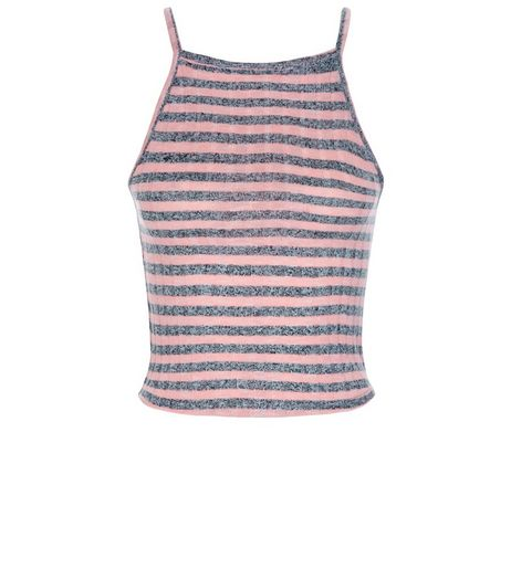Teens Pink Neon Stripe High Neck Top | New Look