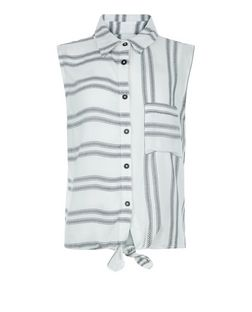 Teens White Double Stripe Tie Front Shirt | New Look