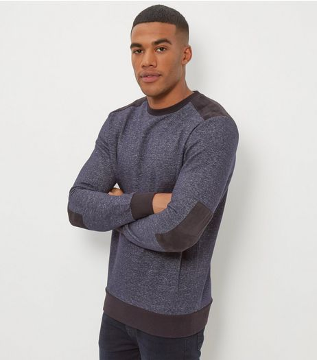 Navy Contrast Patch Crew Neck Sweater  | New Look