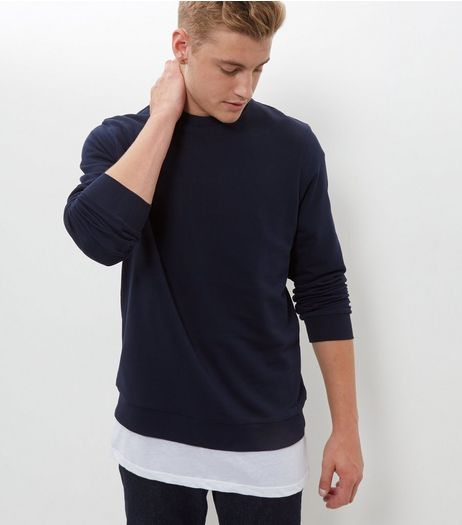 Navy Crew Neck Sweater  | New Look