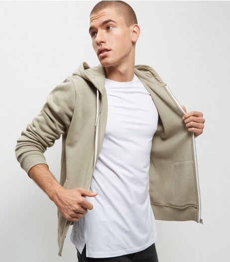 Olive Green Zip Up Hoodie  | New Look