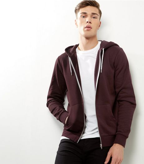 Dark Purple Zip Up Hoodie | New Look