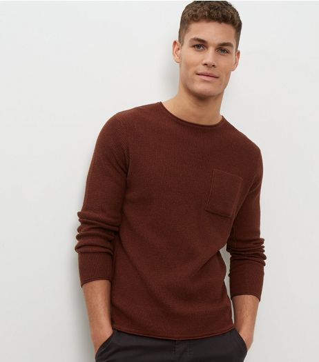 Dark Orange Textured Single Pocket Jumper  | New Look