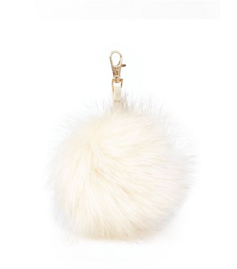 Cream Faux Fur Oversized Pom Pom Keyring  | New Look