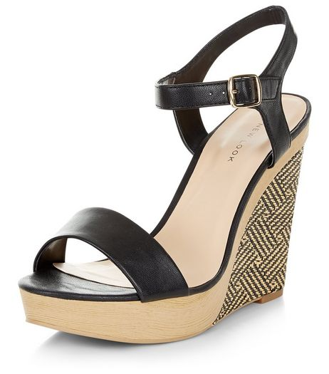 Black Woven Contrast Wedge Sandals   | New Look
