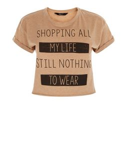 Teens Camel Shopping All My Life Crop Top | New Look