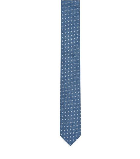 Blue Spot Print Tie | New Look