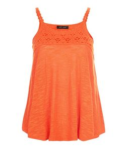 Orange Fine Knit Crochet Panel Vest  | New Look