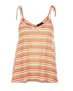 Red Fine Knit Stripe Tie Shoulder Cami  | New Look