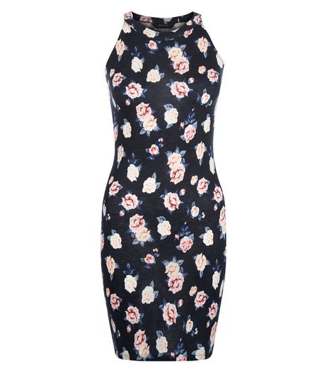 Teens Black Floral Print High Neck Bodycon Dress | New Look