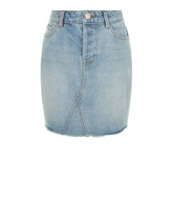 Teens Pale Blue Fray Hem Denim Skirt | New Look