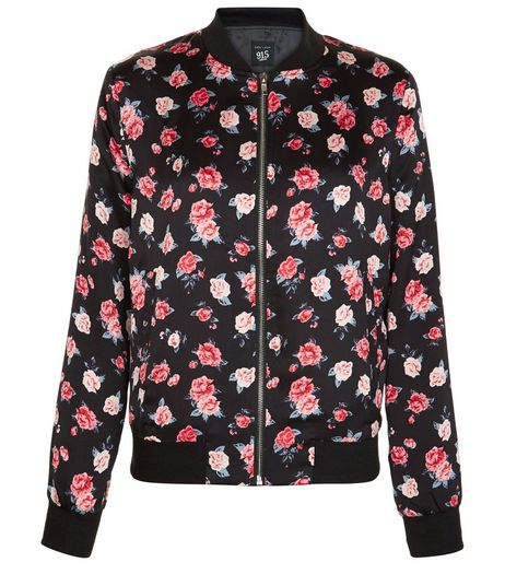 Teens Black Rose Print Bomber Jacket | New Look