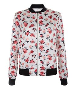Teens White Rose Print Bomber Jacket  | New Look
