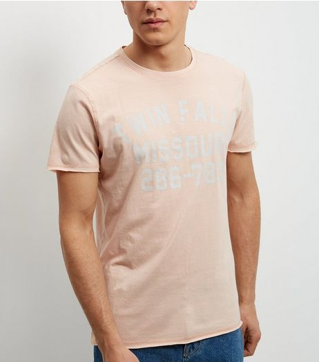 Mid Pink Twin Falls Print T-Shirt | New Look