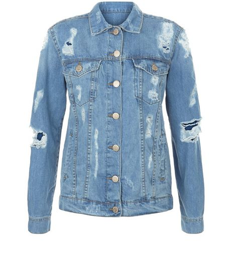 Parisian Blue Ripped Denim Jacket | New Look