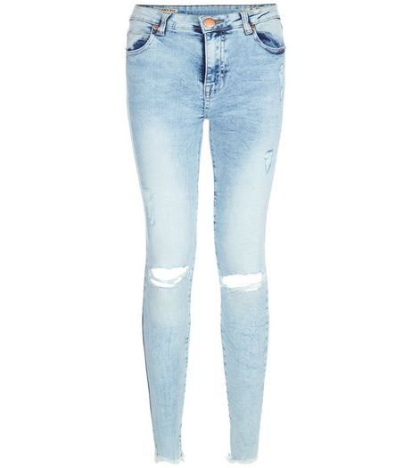 Parisian Blue Ripped Knee Fray Hem Skinny Jeans | New Look