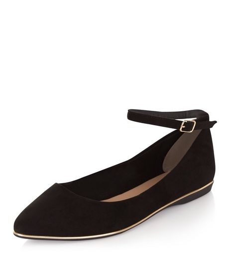Black Suedette Ankle Strap Pointed Pumps | New Look