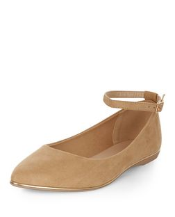 Camel Ankle Strap Pointed Pumps | New Look