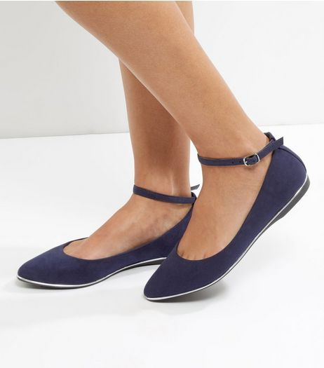 Navy Suedette Ankle Strap Pointed Pumps | New Look