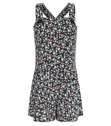 Girls Black Ditsy Floral Pinafore Playsuit | New Look