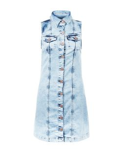 Parisian Pale Blue Denim Button Front Sleeveless Dress  | New Look