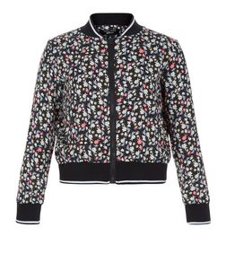 Girls Black Ditsy Floral Bomber Jacket | New Look