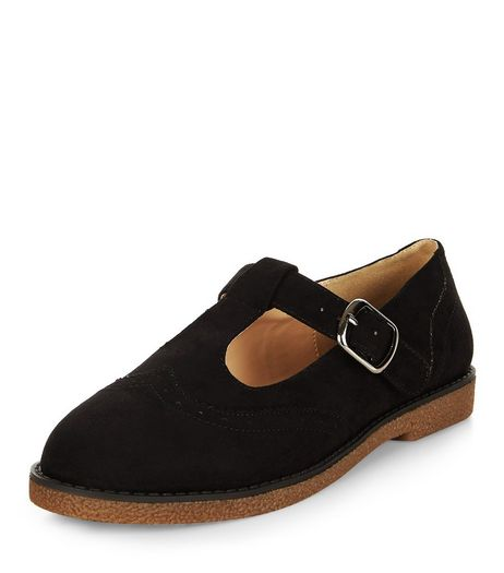 Black Suedette T-Bar Strap Shoes  | New Look