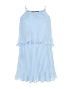 Girls Blue Pleated Layered Strappy Dress | New Look