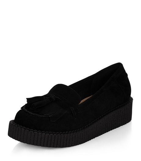Black Tassel Front Creeper Loafers | New Look
